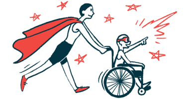 rare disease clinical trial participants | AADC News | Illustration of woman in cape pushing child in wheelchair