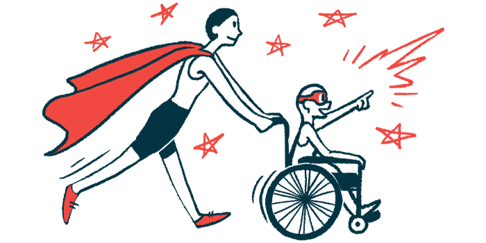 rare disease clinical trial participants   AADC News   Illustration of woman in cape pushing child in wheelchair
